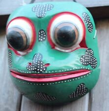 HAND CARVED AND PAINTED SOLID WOOD BALINESE GODOGAN FROG PRINCE THEATRE MASK
