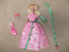 Vintage 1998 Mattel Barbie Doll Fruit Fantasy Strawberry Dress & Earrings