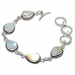 "Mother Of Pearl- Sea Gemstone 925 Sterling Silver Bracelet 7.99"" B851"