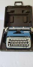 SMITH CORONA Vintage Galaxie 12 Atomic Blue Typewriter Carring Case & Manuals