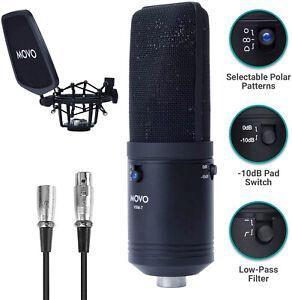 Movo VSM-7 Large Diaphragm Multi-Pattern Studio XLR Condenser Microphone
