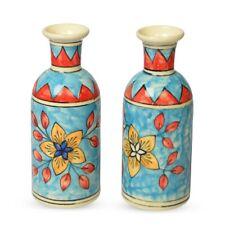 Multi Color Set of 2 Hand Flower Painted Ceramic Vase Pot