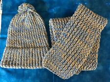 """Knit cap and scarf (45"""" x 6""""), blue and gray, New, Very nice"""