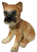 Japan Figurine Vintage Boxer Dog Pup Porcelain Hand Painted Collectible - CUTE!!
