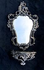 Espejo de Pared Negro Plata Barroco con consola antiguo baño 50x76