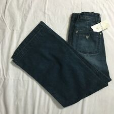 Guess Jeans Girls Size 7 Ultra Flare Distressed Stretch Denim Triangle Logo NWT