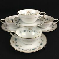 Set of 4 VTG Cups and Saucers by Noritake Elmdale Blue & Gold Leaves 6219 Japan