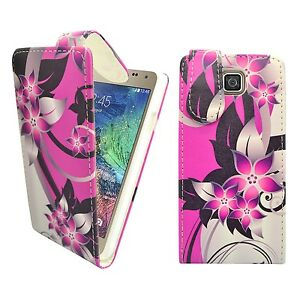 CASE FOR SAMSUNG GALAXY ALPHA PINK CREAM FLOWER FLIP PU LEATHER POUCH COVER