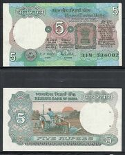 INDIA, 5 RUPEE, NOTES,CURRENCY,PAPER MONEY,UNCIRCULATED, FARMING AT BACK