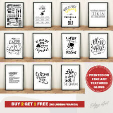 Kitchen Prints FINE ART QUALITY Wall Art Poster. Quotes Funny Home Room Picture