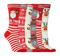 1 Pair of Ladies Festive Christmas Novelty Cotton Socks Size 4-8 UK - 5 Designs