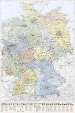 Deutschland-Karte politisch (Bundesländer) mit Relief-Schummerung