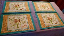 Four Vintage Faith Austin Placemats  -Vintage 1960's -  Rooster / Tree Pattern