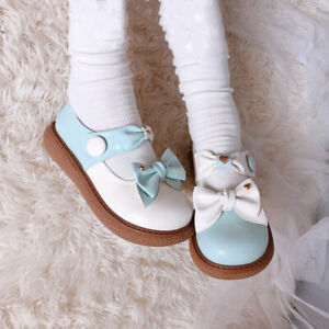Pastel Matte Color Ribbon Shoes Kawaii Princess Bowknot Heart Buttons Mary Janes