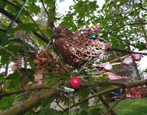 WIRED BROWN  GLITTER CLIP-ON BIRD PINE CONE  CHRISTMAS ORNAMENT