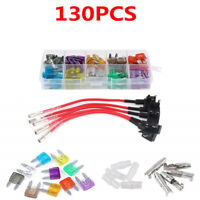 130PCS Car Universal Accessories Circuit Fuse Adapter Fuse Kit 2A-35A 10 Models