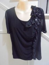 NONI B SIZE L 14 Stunning Black sequin Frill feature stretch TOP