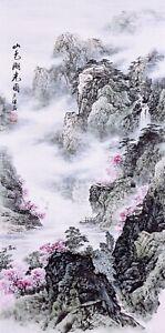 ORIGINAL ASIAN ART CHINESE FAMOUS SANSUI WATERCOLOR PAINTING-Mountains&Flowers