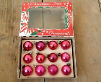 Small Mini Vintage Glass Christmas Tree Bauble Decorations Mid Century 50s 60s
