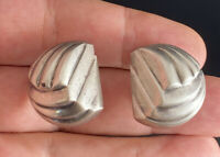 Vintage Sterling Silver 925 Puffy Ribbed French Clip Pierced Earrings
