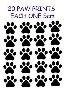 20 x Paw Print Dog Cat Decal Vinyl Stickers 5cm x 5cm Car Wall Glass Craft Art