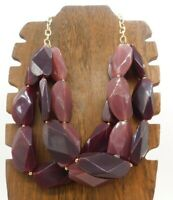 Vintage Multi Layer Elongated Lucite Purple Bead Gold Tone 23 Unclasped Necklace