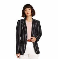 NWOT A New Day Blazer Jacket Black White Striped Linen Casual Work 2 XS