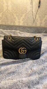 Gucci GG Marmont small matelassé shoulder bag black leather