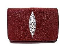 Genuine Stingray Leather Ladies' Tri-Fold Wallet, Burgundy (02-135)