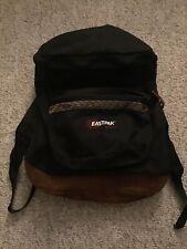 Vintage Eastpak Black Backpack Boogbag Nylon Canvas Leather Bottom