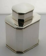 More details for edwardian solid silver tea caddy - 148g - birm. 1910