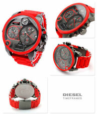 NEW DIESEL DZ7279 MR. DADDY RED SILICONE GUNMETAL 4 TIME MEN'S WATCH UK