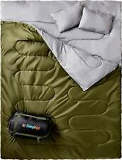 New listing Double Sleeping Bag For Backpacking, Camping, Or Hiking, Queen Size XL! Cold
