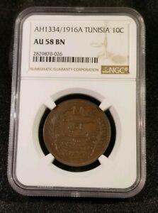 TUNISIA AH1334//1916 A 10 Centimes  KM-236 - NGC AU 58 BN