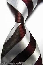 New Classic Stripes Dark Red White JACQUARD WOVEN 100% Silk Men's Tie Necktie
