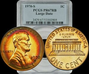 1970-S Lincoln Memorial Cent PCGS PR67 RB Deep Target Toned Red Yellow Green