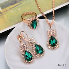 Hot Women Zircon Pendant Necklace Earrings Set Crystal Wedding Jewelry Sets Green