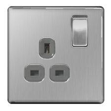 BG Nexus FBS21G - Screwless Flat Plate Brushed Steel Single Switched Socket 1G