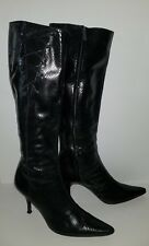 Banana Republic black leather faux snakeskin knee high zip boots. 10
