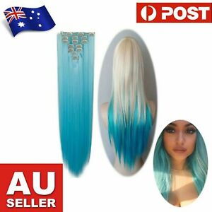 Blue Cosplay Long Straight Hair Extensions - 50cm - 7 pieces - 16 Clips
