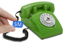 Table Phone OPIS 60s Mobile: Retro/Vintage GSM Telephone/Phone with Dial Green