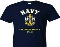 USS INDEPENDENCE  CV-62  VINYL & SILKSCREEN NAVY ANCHOR SHIRT.