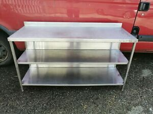 NO279 STAINLESS STEEL WALL TABLE  2 UNDER SHELVES 1500MM X 570MM X 820MM HIGH