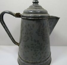 Vintage Antique Gray Enamelware Graniteware Coffee Pot Grey
