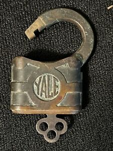 1878 Vintage Brass Yale Mini Padlock Very Rare 2'' Flat Ring WITH WORKING KEY