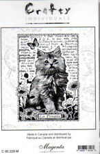 New Crafty MAGENTA Rubber Stamp Garden kitty Cat collage script Cling free usa s