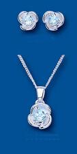 Plata Ley Topacio Azul Fantasía Conjunto Colgante Pendientes Flor con Cadena