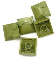 Lego 5 New Olive Green Bricks Modified 2 x 2 x 2/3 Two Studs Curved Sloped End