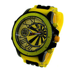 MENS ICED OUT YELLOW/BLACK CAPTAIN BLING ICE NATION HIP HOP BULLET BAND WATCH