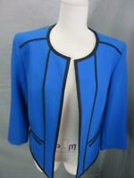 Casper Size 8 Womens Royal Blue 3/4 Sleeve Side Pockets Open Front Blazer T712